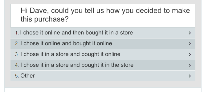 Hoff purchase pattern questionnaire
