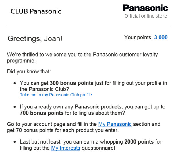 The Panasonic welcome email shows the customer how many points they can earn for providing different types of information