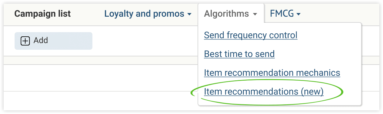 The new page of item recommendations is located in «Algorithms»