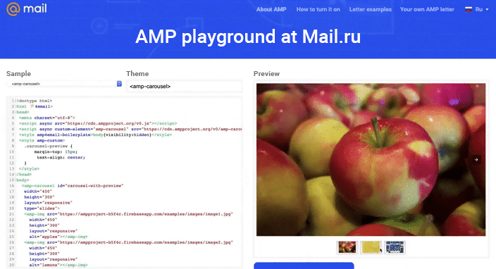 AMP Playground at Mail.ru