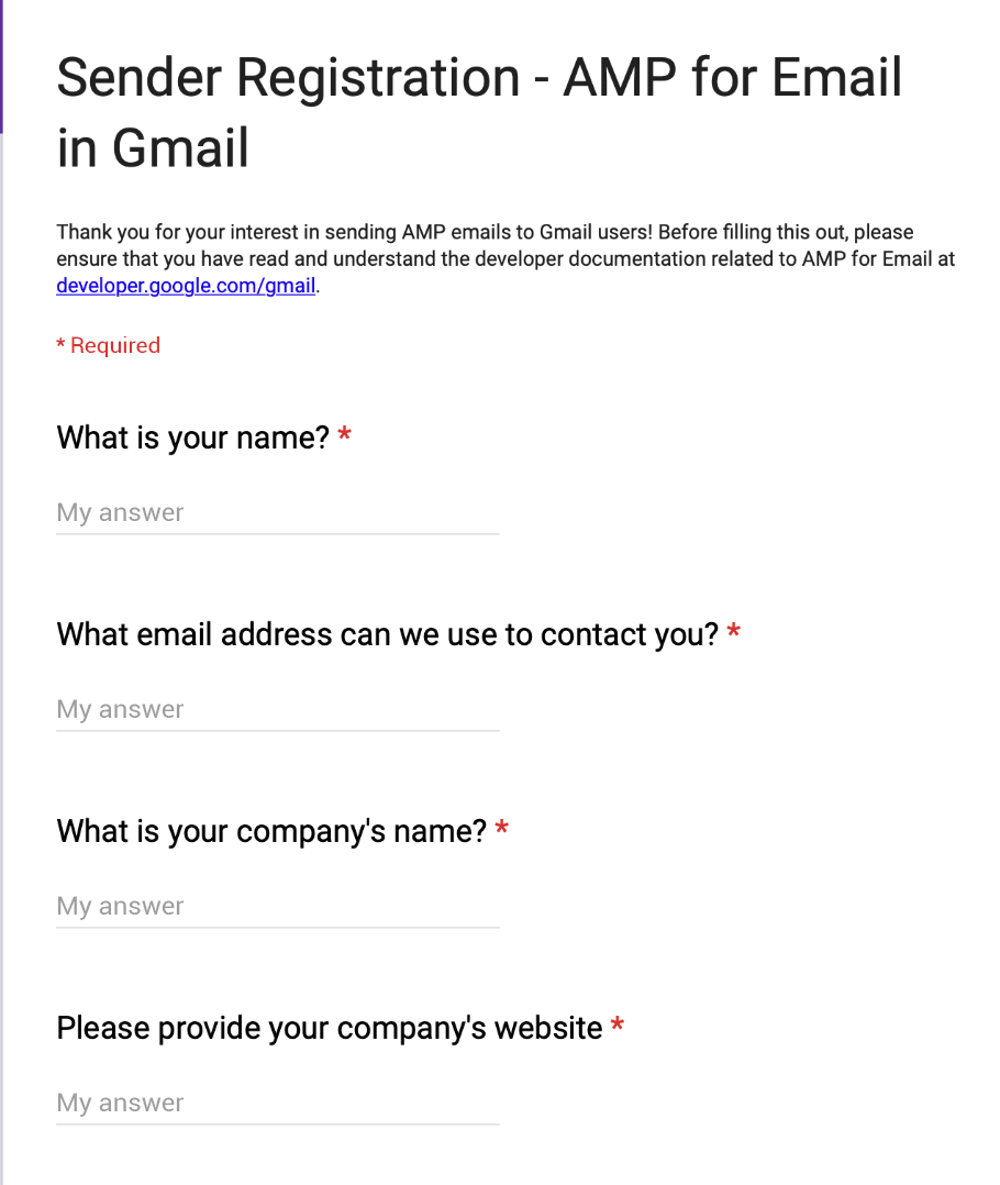 Gmail AMP sender registration form