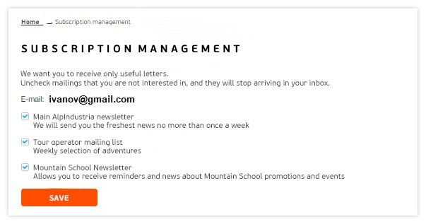 Set up subscription topic management on user profiles and upon clicking on the unsub link in an email